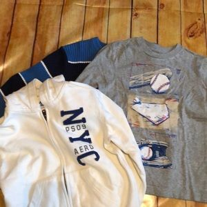 Boys size 5/6 zip up hoodie, sweater, ls tee